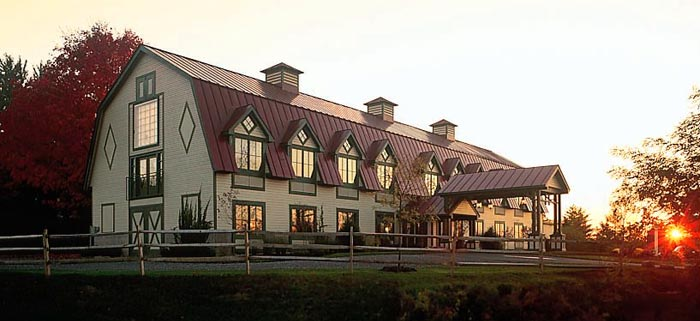 Exterior of longfellows hotel with sun setting
