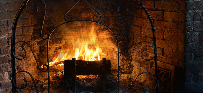 fireplace with lit flame